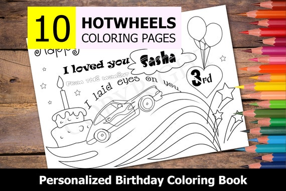 - 10 Personalized Hotwheels Themed Coloring Book For Birthday Etsy