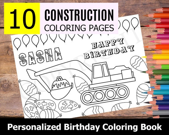 - 10 Personalized Construction Themed Coloring Book For Birthday Etsy