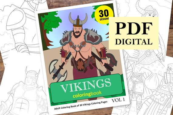 Vikings Coloring Book 30 Designs Coloring Books Coloring Etsy