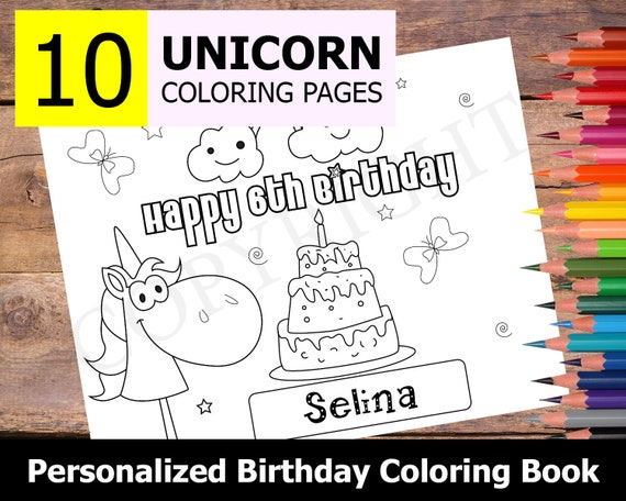 - Personalized Unicorn Birthday 10 Party Coloring Pages Happy Etsy