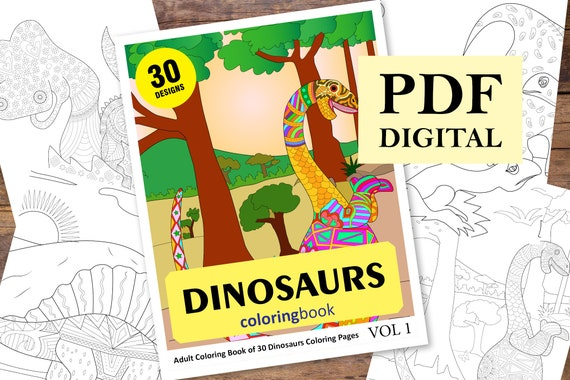 Dinosaur Coloring Book 30 Designs (Coloring Books, Coloring Pages, Adult  Coloring Books, Coloring Books for Adults)