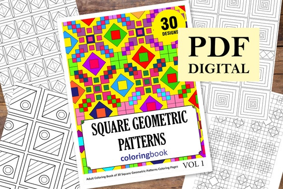 - 30 Square Geometric Patterns Adult Coloring Pages Coloring Etsy