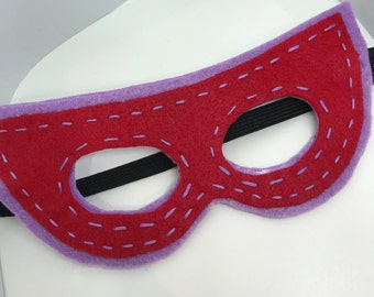 Superhero Mask - Customize and Personalize any colour - Purple/Red