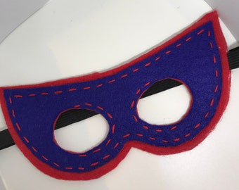 Superhero Mask - Customize and Personalize any colour - Red/Blue