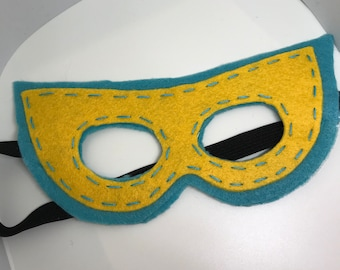 Superhero Mask - Customize and Personalize any colour - Turquoise/Yellow