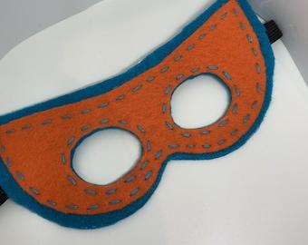 Superhero Mask - Customize and Personalize any colour - Turquoise/Orange