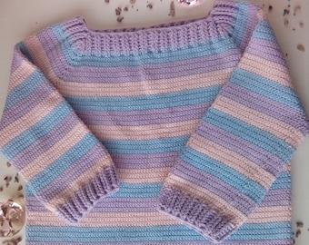 Crochet Sweater, Womens Pull Over Sweater, Crochet Womens Sweater, Light Weight Sweater, Lilac Sweater, Pastel Sweater / Handmade
