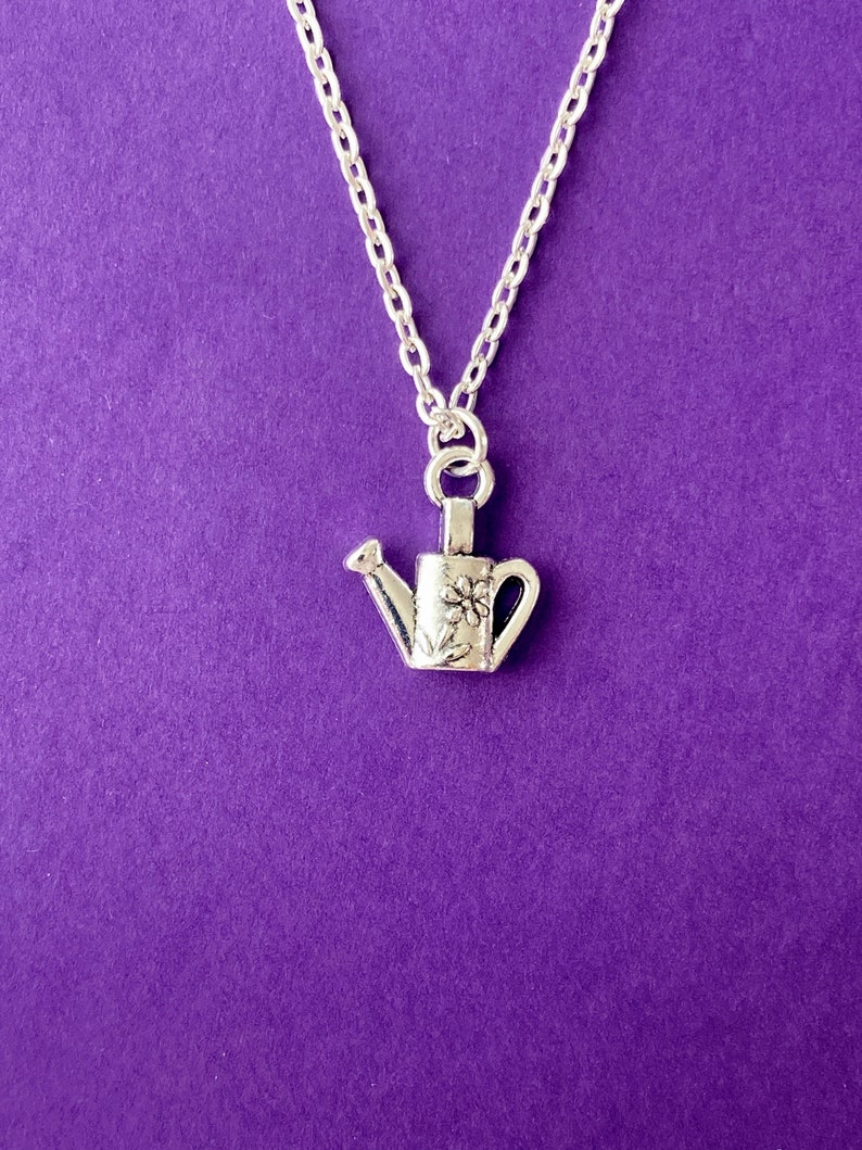 birthstone necklace personalised jewellery watering can gift gardeners gift Watering can charm necklace