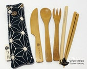 Utensil Set - Bamboo - Travel Pouch with Black Flower of Life