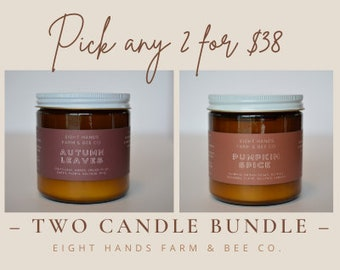 Two Candle Bundle, Candles, Soy Candles, Beeswax Candles, Non Toxic Candle, Beeswax Soy Candles, Candles, Soy Wax, Candle, Amber Jar Candle