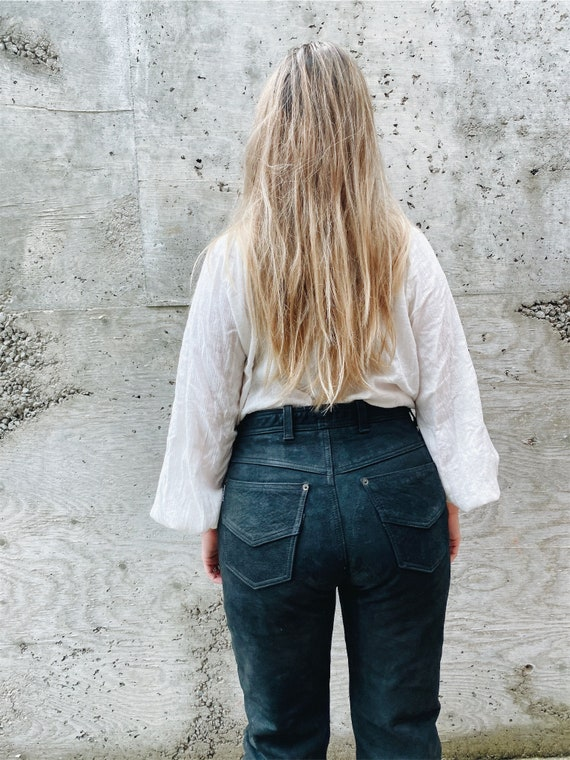 Vintage Leather Pants / Black Leather Pants / Hig… - image 2