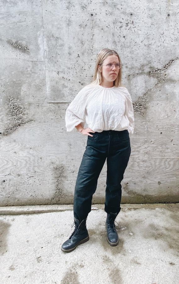 Vintage Leather Pants / Black Leather Pants / High