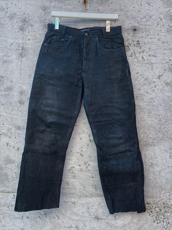 Vintage Leather Pants / Black Leather Pants / Hig… - image 4