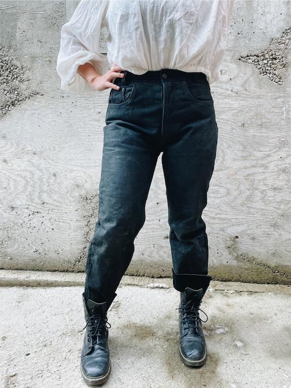 Vintage Leather Pants / Black Leather Pants / Hig… - image 3