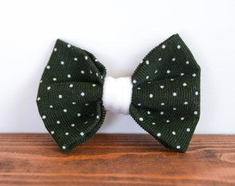 Corduroy bow on hair clip-crocodile
