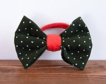 Corduroy bow on elastic hair tie