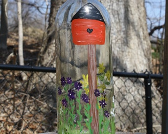 Fun recycled wine bottled bird feeder, hand painted, one of a kind, feed the birds