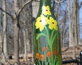 Recycled wine bottle bird feeder, hand painted, fun bird feeder, out door art, feed the birds