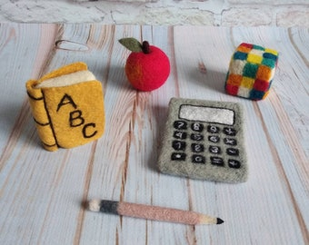 Needle felted 3pcs back to school set Felted stuffy toys Newborn photo props Felted apple Felted pen Felted calculator Wool school supplies