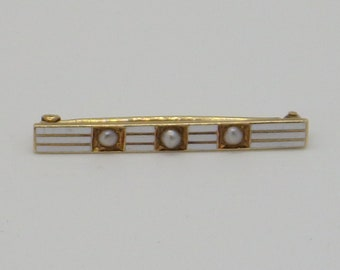 14K Henry Blank & Co Enamel And Seed Pearl Art Nouveau Brooch