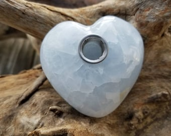 Blue Calcite Heart  Shaped Crystal Pipe
