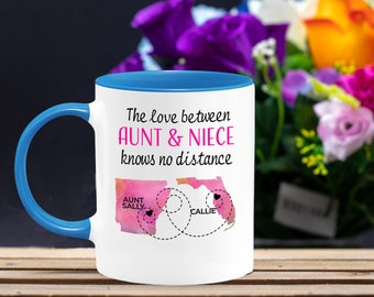 To Aunt From Niece Gift Ideas; Long Distance Aunt; Favorite Aunt Gift; Personalized Aunt Gift - Name State; Birthday Gift for Aunt and Niece