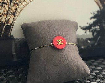 Repurposed Red Button Gold Slider Bracelet