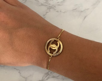 Repurposed Button Gold Slider Bracelet