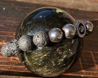 Natural Lava and Hematite Gemstone Bracelet