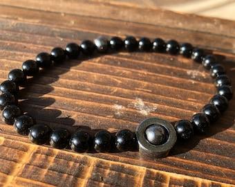 Natural Onyx and Hematite Gemstone Bracelet