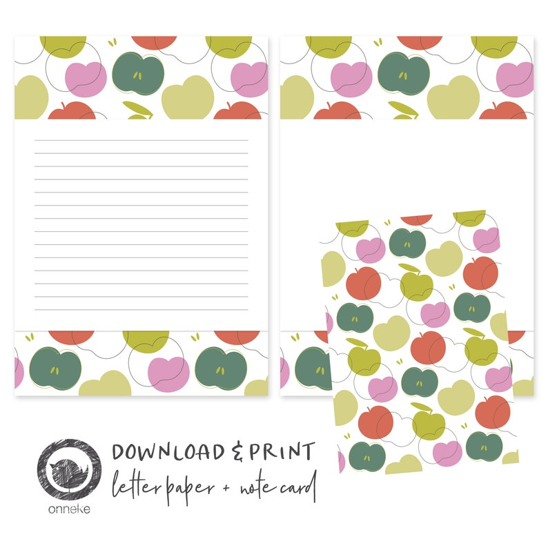 graphic relating to Printable Letter Papers known as Printable letter paper and notecard apples, crafting paper, stationery, A5, instantaneous down load, snailmail
