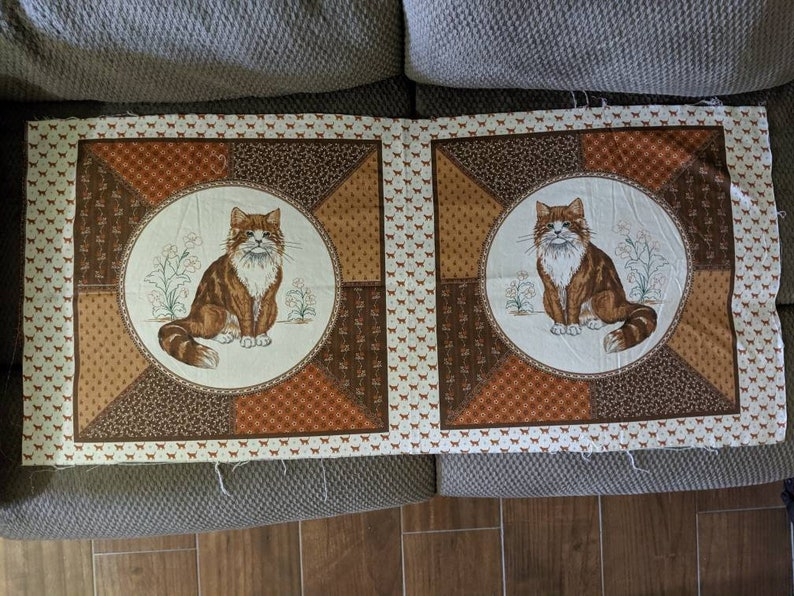 set of 2 vintage fabric panelsbrown and white cat image 0