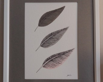 Original framed acrylic painting of feathers 'Feathery line up'