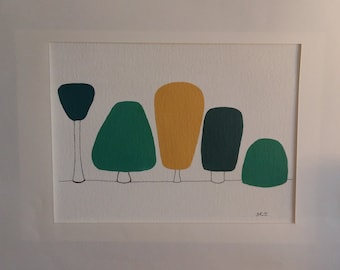 Original framed acrylic painting of abstract trees 'All shapes and sizes'