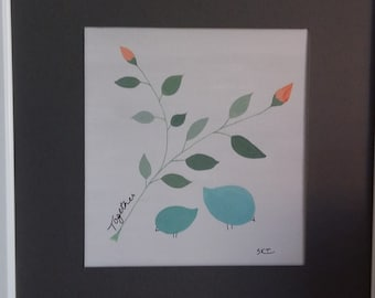 Original framed acrylic painting of little birds 'Together'