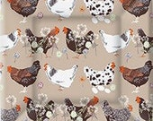 Hens Square Dinner Plates, Farm Party, Set of 8 Plates