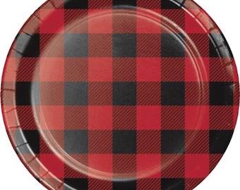 Buffalo Plaid Dessert Plates, Lumberjack Party, Set of 8 Plates