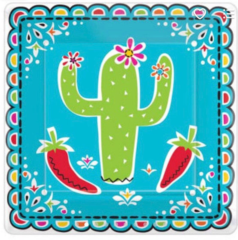 Desert Party Cactus Party Set of 18 Outdoor Party Fiesta Party Fiesta 7 Cactus Plates
