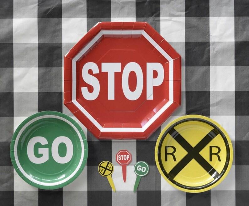 Yellow railroad sign latex balloon