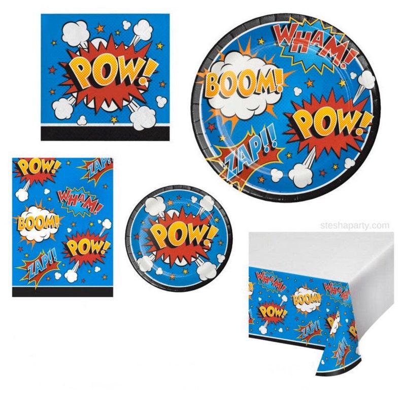 Superhero Party Superhero Decor Set of 8 Superhero Slogans Dessert Plates Superhero Themed Birthday Party