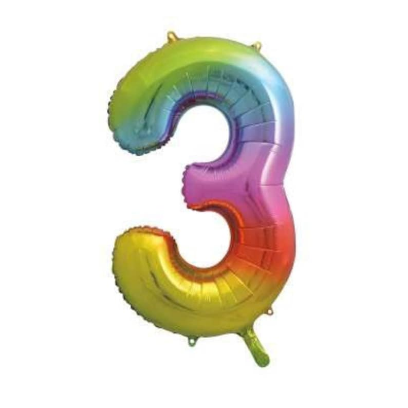 Rainbow Number 3 Shaped Foil Balloon 34 Birthday Party Supplies