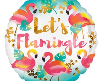 "17"" Let's Flamingle Pink Flamingo Balloon, Flamingo Baby Shower, Flamingo Birthday"