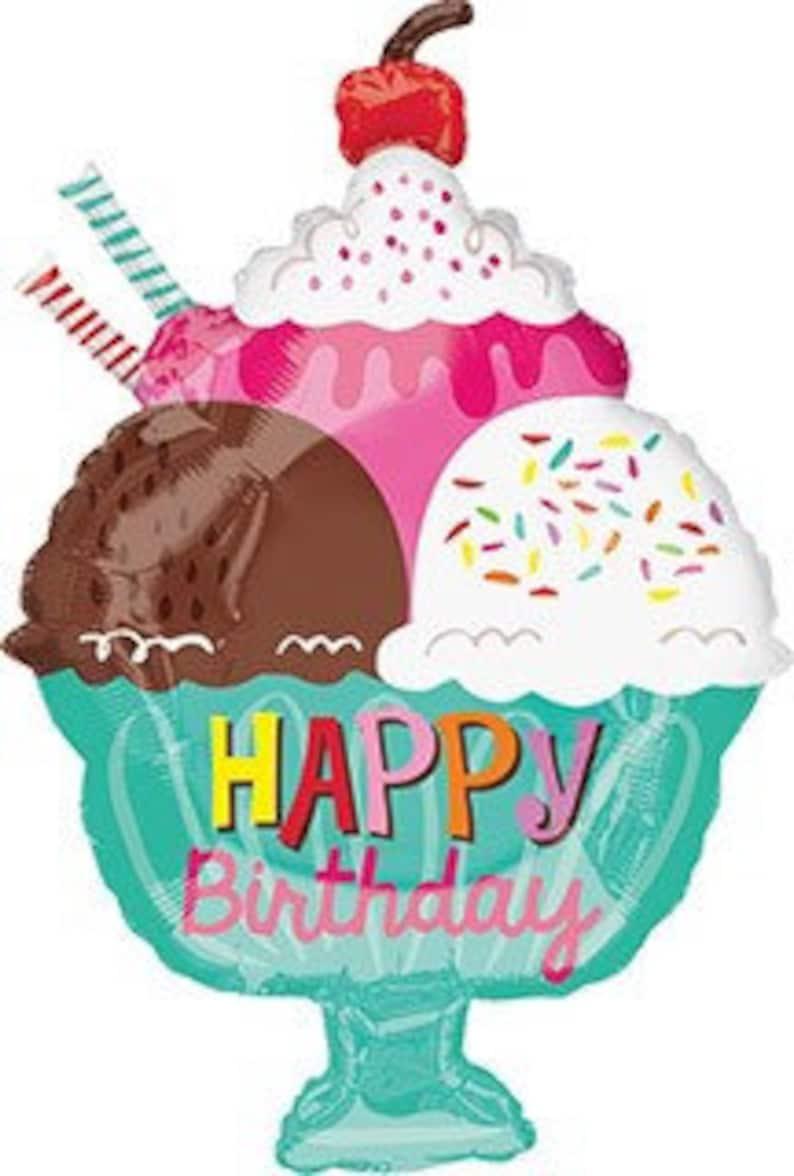23 Happy Birthday Ice Cream Sundae Balloon Ice Cream Party Balloon Holographic Balloon Birthday Party