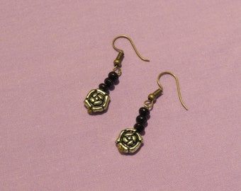 Black wooden beads and bronze pattern earrings
