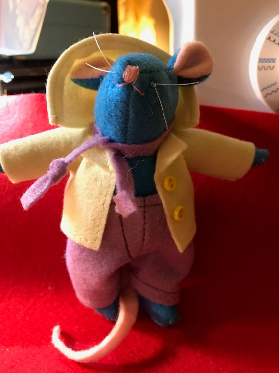 Blue Mouse With A Yellow Jacket Etsy
