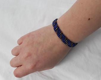 Blue and Gold Striped Bracelet
