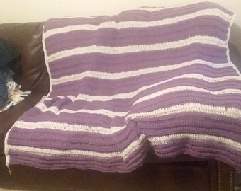 Purple and white afghan