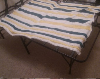 Yellow, teal and white afghan