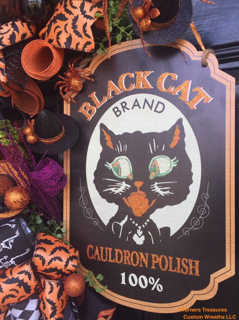 Halloween Door Decor For the Front door Black Cat Wreath Halloween Decor Fall Decor Autumn Decor Halloween Wreath Halloween Cat Decor