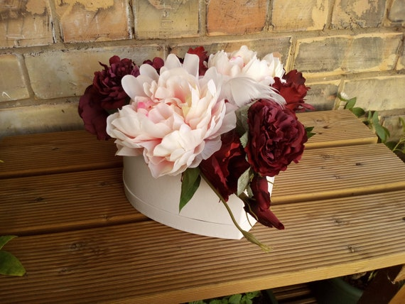 Flower Box Silk Peonies Pink Artificial Flower Arrangement Etsy